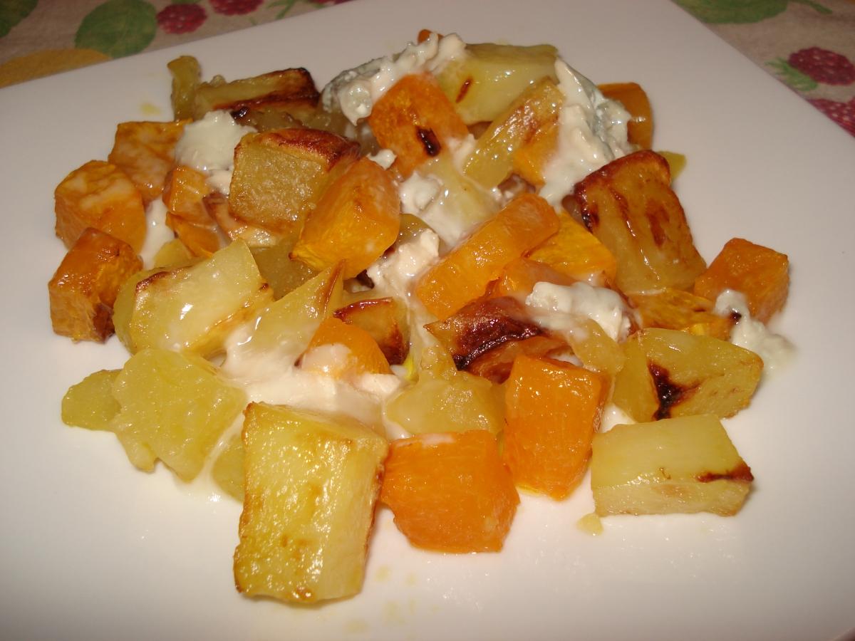Patate e zucca al forno con gorgonzola