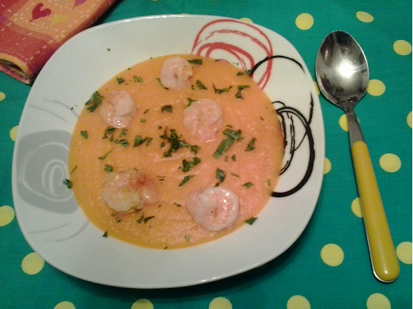 crema carote e gamberi